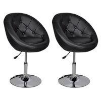 vidaXL Baro kėdės, 2vnt., juodos, dirbtinė oda