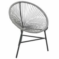vidaXL Sodo kėdė, pilka, poliratanas, mėnulio formos