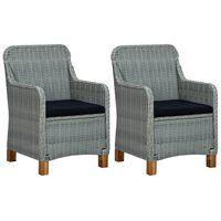vidaXL Sodo kėdės su pagalvėlėmis, 2vnt., šviesiai pilkos, poliratanas