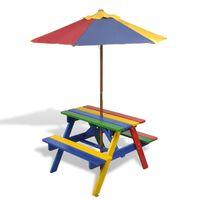 vidaXL Vaikiškas iškylos stalas su suoliukais ir skėčiu nuo saulės