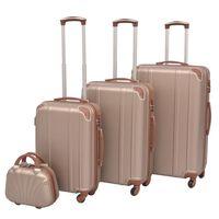 vidaXL 4 Kietų lagaminų su ratukais komplektas, šampano spalvos