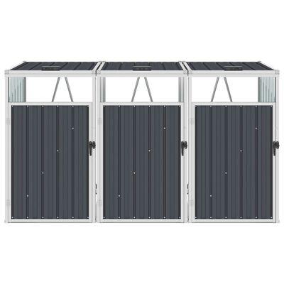 vidaXL Konteinerių stoginė, antracito, 213x81x121cm, plienas, trivietė