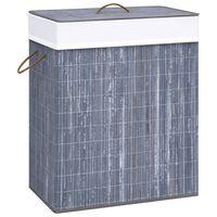 vidaXL Skalbinių krepšys, pilkos spalvos, bambukas, 83l