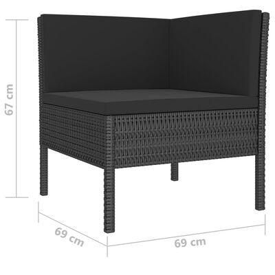 vidaXL Sodo komplektas su pagalvėlėmis, 6 dalių, juodas, poliratanas