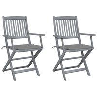 vidaXL Sulankstomos lauko kėdės su pagalvėmis, 2vnt., akacijos masyvas