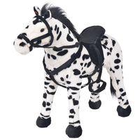 vidaXL Pastatomas pliušinis žaislas žirgas, juodas ir baltas, XXL