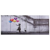 vidaXL Paveikslas ant drobės, spalvotas, 200x80cm, balionai su vaiku