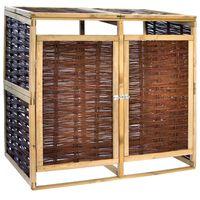 vidaXL Dvivietė konteinerių stoginė, pušies mediena ir vytelės