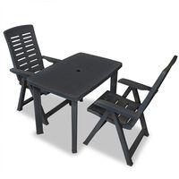 vidaXL Bistro baldų komplektas, 3d., antracito sp., plastikas