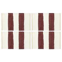 vidaXL Stalo kilimėliai, 4vnt., vyšninių+baltų dryžių, 30x45cm, chindi