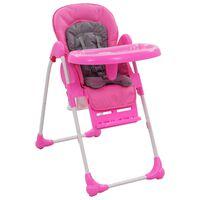 vidaXL Aukšta maitinimo kėdutė, rožinės ir pilkos spalvos