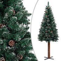 vidaXL Kalėdų eglutė su baltu sniegu, žalia, 210cm, mediena