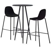 vidaXL Baro baldų komplektas, 3 dalių, juodos spalvos, audinys