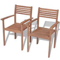 vidaXL Sudedamos sodo kėdės, 2 vnt., tikmedžio mediena