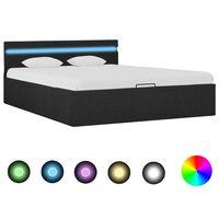 vidaXL Lovos rėmas su LED ir daiktadėže, pilkas, 140x200cm, audinys