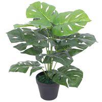 Dirbtinis Monstera augalas su vazonu, 45 cm, žalias