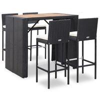 vidaXL Baro baldų komplektas, 5 dalių, juodas, poliratanas ir akacija