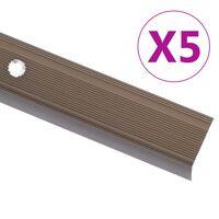 vidaXL Profiliai laiptams, 5vnt., rudi, 134cm, aliuminis, L formos