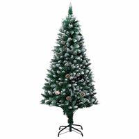 vidaXL Dirbtinė Kalėdų eglutė su kankorėžiais ir baltu sniegu, 180cm