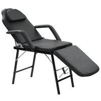 vidaXL Kilnojama kosmetologinė kėdė, dirbtinė oda, 185x78x76cm, juoda