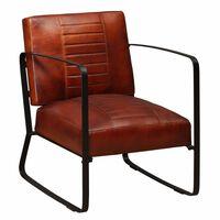 vidaXL Poilsio kėdė, ruda, tikra oda