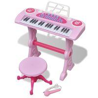 Vaikiškas Žaislinis Sintezatorius su Kėdute/Mikrofonu, 37 Kl., Rožinis
