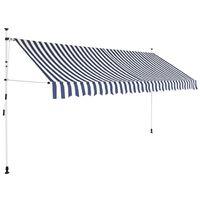 vidaXL Rankiniu būdu ištraukiama markizė, mėlyni/balti dryžiai, 350cm