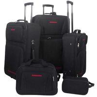 vidaXL 5 dalių kelioninių lagaminų komplektas, juodas