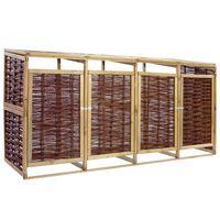 vidaXL Keturvietė konteinerių stoginė, pušies mediena ir vytelės