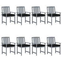 vidaXL Sodo kėdės su pagalvėlėmis, 8vnt., pilkos, akacijos masyvas