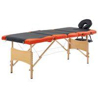 vidaXL Masažinis stalas, juodas ir oranžinis, mediena, 4 zonų
