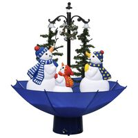 vidaXL Eglutė su sniego funkcija ir skėčio pagrindu, mėlyna, 75cm, PVC