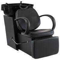 vidaXL Kirpyklos kėdė su plautuve, juodos spalvos, dirbtinė oda