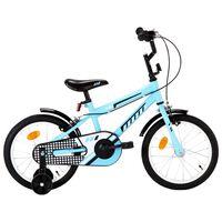 vidaXL Vaikiškas dviratis, juodos ir mėlynos spalvos, 16 colių ratai