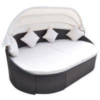vidaXL Lauko gultas su pagalvėlėmis, poliratanas, rudas
