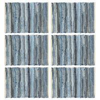 vidaXL Stalo kilimėliai, 6 vnt., džinsinė mėlyna, 30x45cm, medvilnė