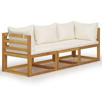 vidaXL Trivietė sodo sofa su pagalvėlėmis, kreminė, akacijos masyvas