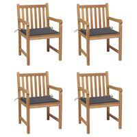 vidaXL Sodo kėdės su antracito pagalvėlėmis, 4vnt., tikmedžio masyvas