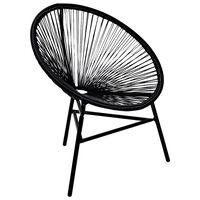 vidaXL Sodo kėdė Moon, sintetinis ratanas, juoda