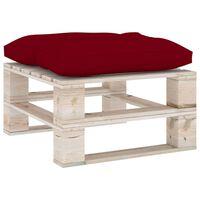 vidaXL Otomanė iš paletės su vyno raudona pagalvėle, pušies mediena