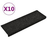 vidaXL Laiptų kilimėliai, 10vnt., juodi, 65x25cm, perforuoti adatomis