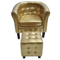 vidaXL Krėslas su pakoja, auksinės spalvos, dirbtinė oda