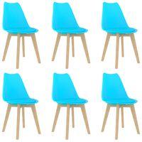 vidaXL Valgomojo kėdės, 6vnt., mėlynos, plastikas (289140+289141)