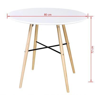 vidaXL Valgomojo stalas, MDF, apvalus, baltas