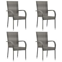 vidaXL Sudedamos lauko kėdės, 4vnt., pilkos spalvos, poliratanas
