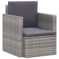 vidaXL Sodo kėdė su pagalvėlėmis, pilkos spalvos, poliratanas