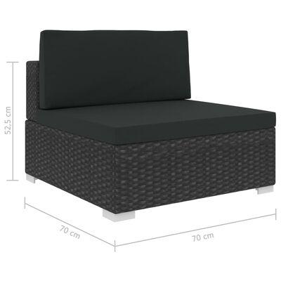 vidaXL Sodo baldų komplektas su pagalvėmis, 6 dalių, juodas, ratanas