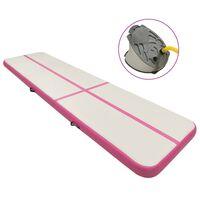 vidaXL Pripučiamas gimnastikos kilimėlis, rožinis, 600x100x15cm, PVC