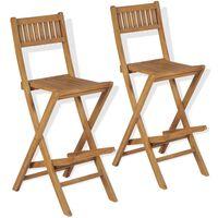 vidaXL Sulankstomos lauko baro kėdės, 2 vnt., tikmedžio mediena