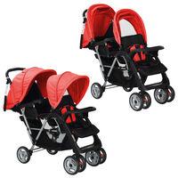 vidaXL Vaikiškas dvivietis vežimėlis, plienas, raudonas/juodas